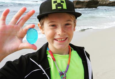 One happy boy - big blue sea glass