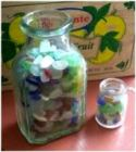 small jars sea glass