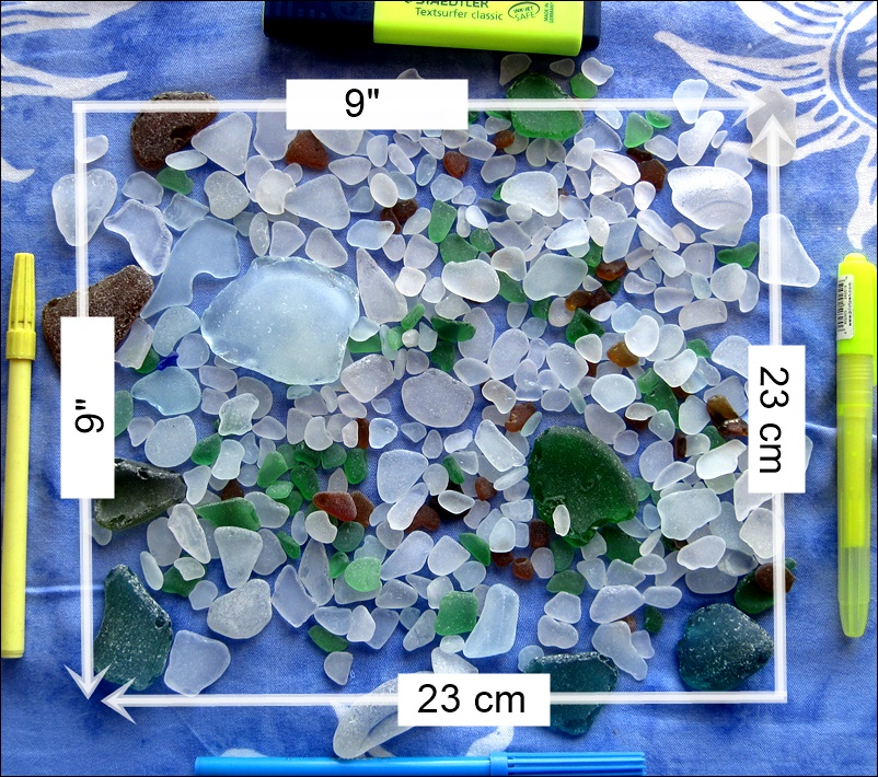 1 pd of sea glass covers 81 sq inches