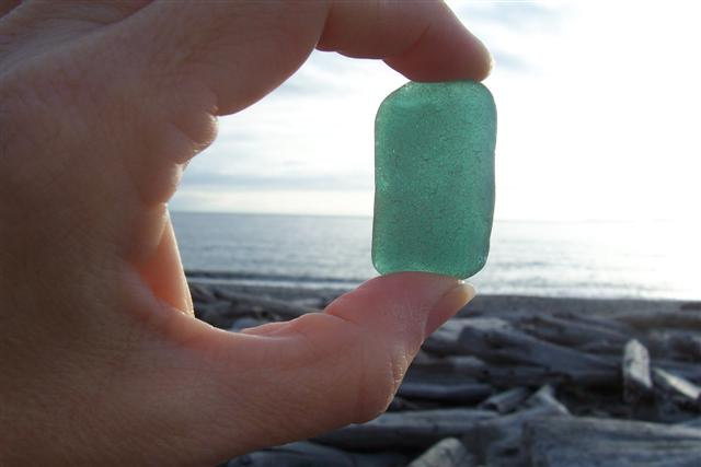 Large piece of teal beach glass