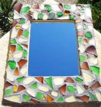 Sea Glass Mosaic Mirror Frame