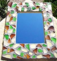 Sea Glass Mosaic Mirror Frame
