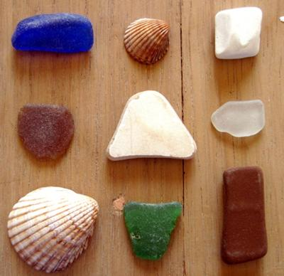 Catch of the day, sea glass, ceramic, and shells