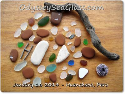 Beach glass catch from 2 hours on Huanchaco Beach
