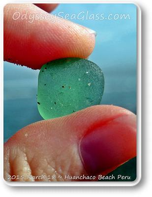 This is a close-up of the same unusual pale green sea glass