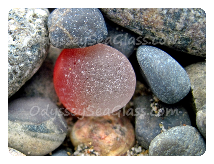 Huanchaco Beach Peru Red and white sea glass