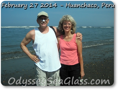 David and Lin on sea glass hunt, Huanchaco, Peru