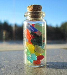 collect sea glass jars and give them as gifts