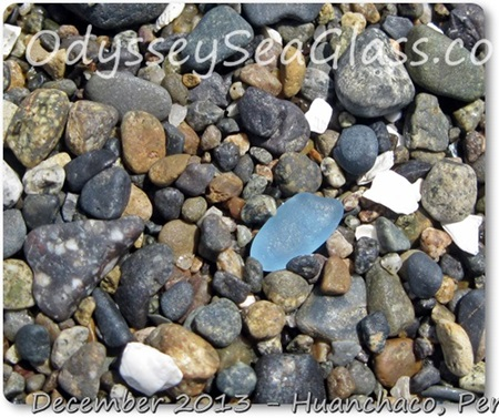 Beautiful blue sea glass found on Huanchaco Beach