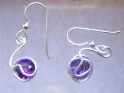 Amethyst sterling silver wire wrapped earrings