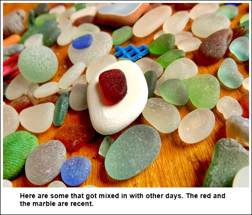 sea glass finds good day at Huanchaco Beach, Peru
