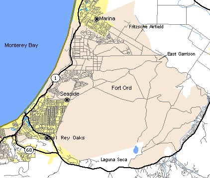 Map of the area covered by Fort Ord, California