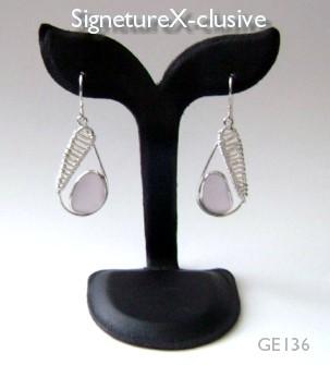 Lavendar Sea Glass Earrings GE136
