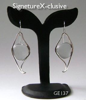 California grey Sea Glass earrings Signe X-clusive