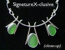 Green Sea Glass Trio Necklace*
