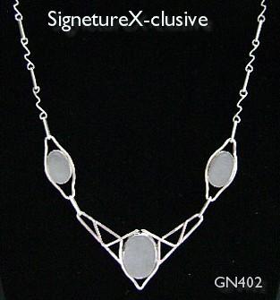 Sterling White Sea Glass Trio Necklace*