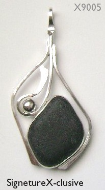 Black Sea glass pendant