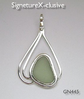 Sea glass pendant vaseline glass