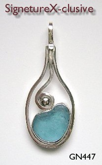 Sea glass pendant blue california