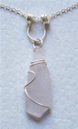 Lavender sea glass sterling silver wire wrapped pendant