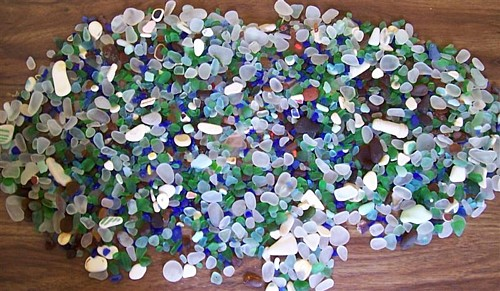 Total Sea Glass for Saturday (3 inches deep in the middle)!