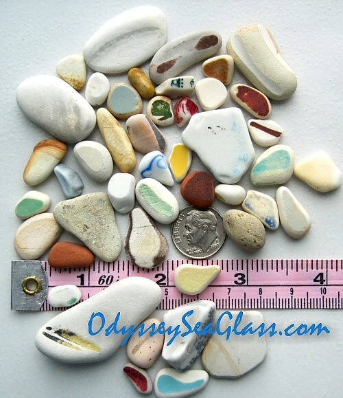 Beach pottery sea glass