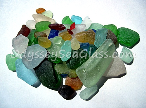 Partial spectrum of sea glass colors