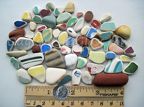 Beach pottery and jadite sea glass