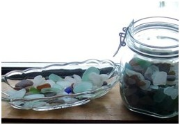Sea glass stored in jars looks great!
