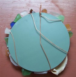 Sea Glass Mirror Back Wrap Wire