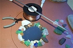 Materials for wire-wrapping sea glass mirror or frame