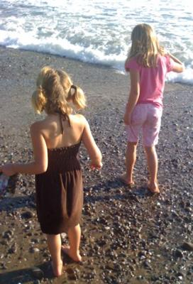 Kids looking for sea glass