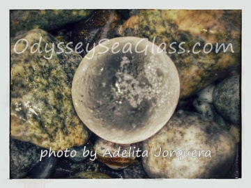 Adelita Jorquera's clear sea glass marble from Port Townsend Glass Beach area