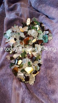 lovely sea glass haul,with some pottery.