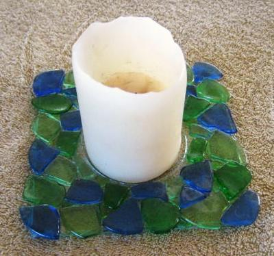 Beach Glass Candle Plate