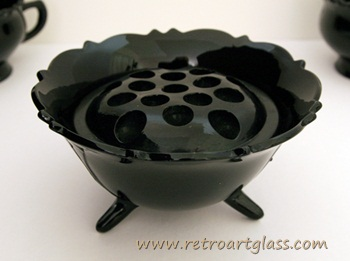 Black depression glass flower bowl