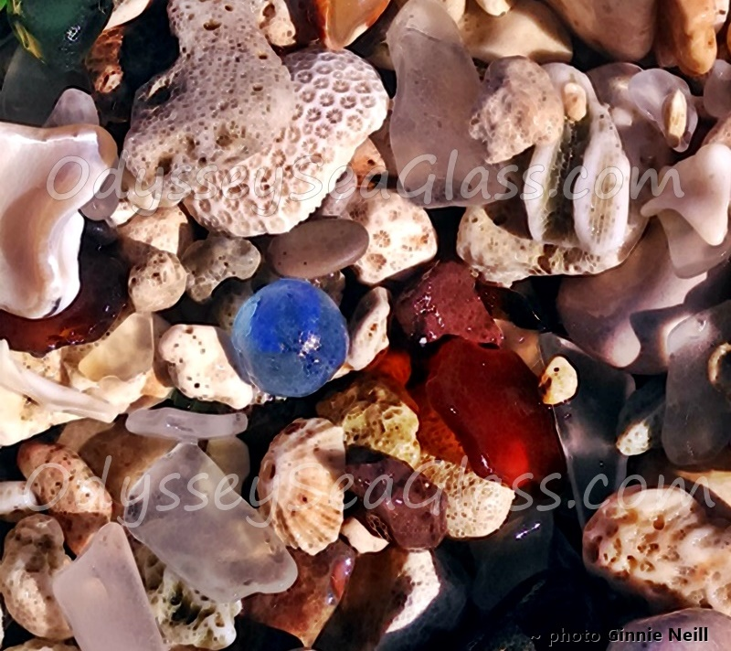 West Jamaica Glass Beach - blue marble Sea Glass