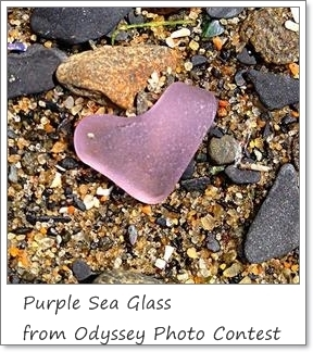 Sample of rare true purple sea glass