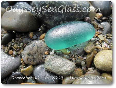 gorgeous blue sea glass big that lin found on Huanchaco beach