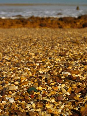 Green Glass on Pebbles - September 2012 Sea Glass Photo Contest
