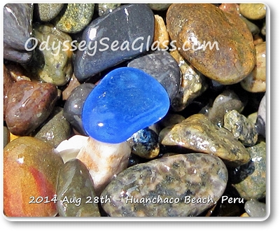 Blue sea glass from today's catch