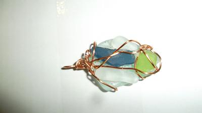 pendant with a rare blue glass