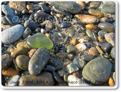 One of the interesting pieces of sea glass today was this olive-ish piece with a bubble visible.