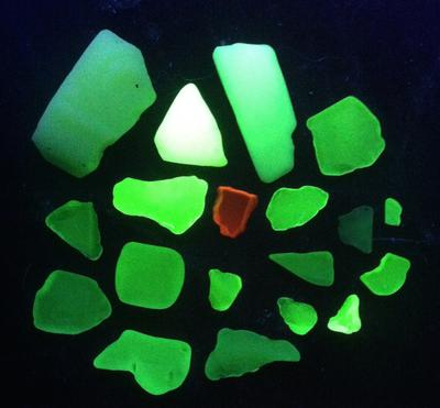 Mostly Green UV glass with one red