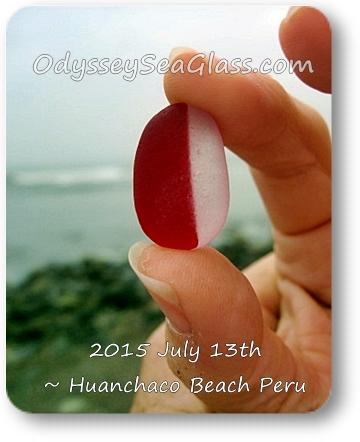 Lin's red and white big sea glass  in huanchaco peru