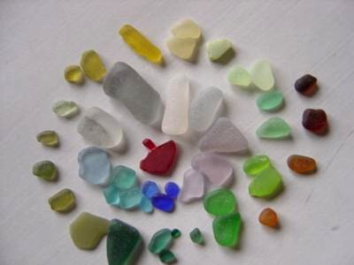 Many colors of sea glass