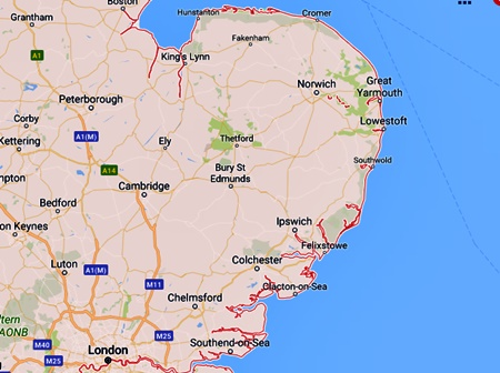 Map Of The East Of England.Sea Glass British Isles