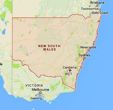 Map Of Nsw And Victoria Australia.Sea Glass In Australia