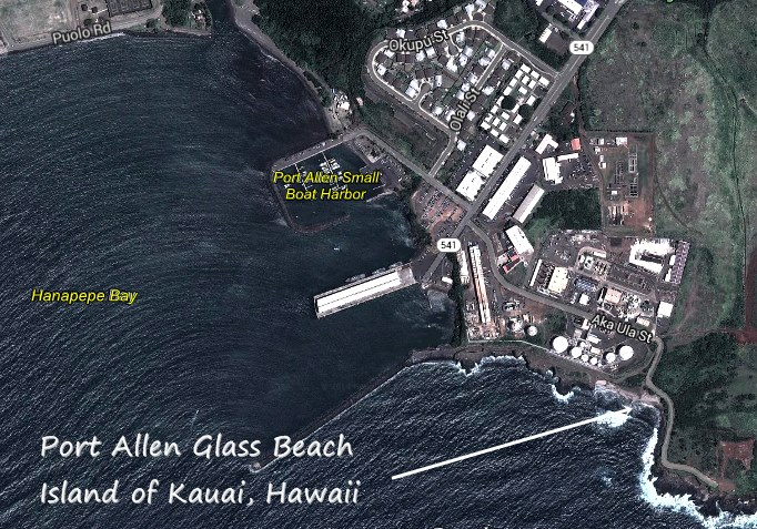 map and directions glass beach port allen kauai hawaii