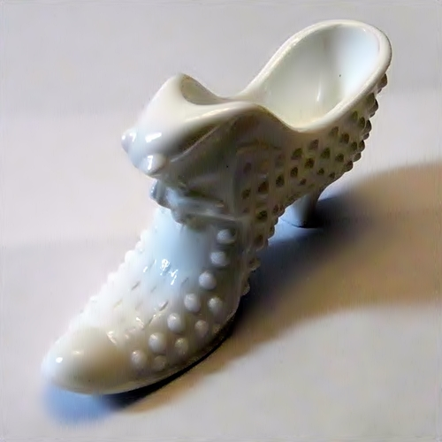 Hobnail Milk Glass Cat Shoe